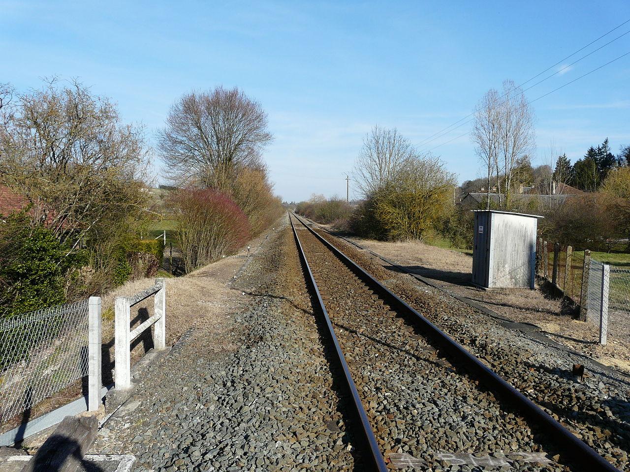 La voie ferrée au bourg de Saint-Pierre-de-Chignac.