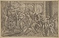 Saint Roch at left distributing alms to a group of people gathered around him, after Annibale Caracci MET DP838023.jpg