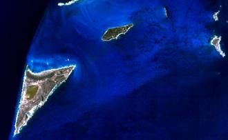 Salt Cay, Turks Islands - Satellite Image of Salt Cay (lower left) and neighboring islets