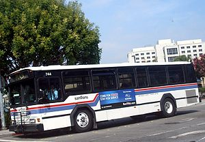 SamTrans - The Gillig Phantom - SamTrans' former fleet workhorse.  Note the highback seats, uncommon on local buses in the United States.