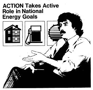 "Sam Brown (activist) - The cover of ""Action Update"" (September 30, 1979) depicting Sam Brown, who was appointed Director of the Action Corps by President Jimmy Carter in 1977. One of Brown's initiatives as Action director was to have VISTA workers support Carter's energy conservation policies."
