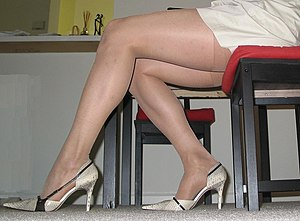 A picture of women's legs in pantyhose