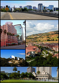 Images, from top down, left to right: Downtown San Jose, De Anza Hotel, East San Jose suburbs, Lick Observatory, Plaza de César Chávez көрінісі