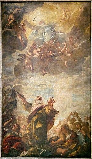 Niccolò Bambini - Image: San Moisè (Venice) Interno Mosè colpisce la roccia Soffitto