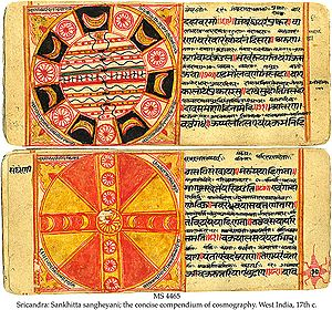 Jain cosmology - Work of Art showing maps and diagrams as per Jain Cosmography from 17th century CE Manuscript of 12th century Jain text Sankhitta Sangheyan