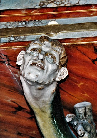 Lust - Detail of Lust at the Sankt Bartholomäus church (Reichenthal), Pulpit (1894)