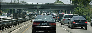 Santa Ana Freeway - The Santa Ana Freeway is often congested, especially where it meets Interstate 605 (the San Gabriel River Freeway) in southeastern Los Angeles County.