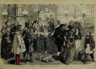 """John Cassell - Scene in a London Gin Palace (engraving from the """"Working Man's friend and family instructor"""", 25 Oct 1851)"""