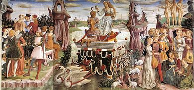 Fresco. At the centre of a surreal landscape, the richly dressed goddess is drawn down a stream on an ornate contraption pulled by swans. Young women are grouped to the right and young men to the left of the scene. In the foreground are white rabbits.