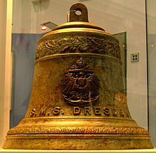 "A brass bell with ""S.M.S Dresden"" engraved on it"