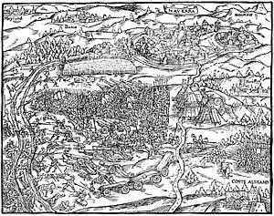 Battle of Novara (1513) - Illustration of the battle of Novara in the cronicle of Johannes Stumpf, 1548