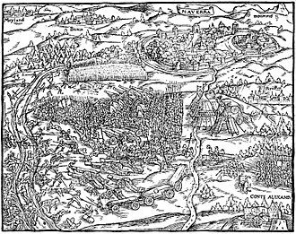Battle of Novara (1513) - Illustration of the Battle of Novara in the cronicle of Johannes Stumpf, 1548