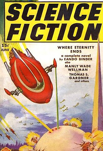 """Eando Binder - The Binder novelette """"Where Eternity Ends"""" was cover-featured on the June 1939 issue of Science Fiction, illustrated by Frank R. Paul"""