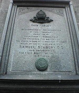 Samuel Seabury - Tablet marking Seabury's consecration at Marischal College, Aberdeen