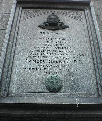 Samuel Seabury - Tablet marking Seabury's consecration at Marischal College, Aberdeen