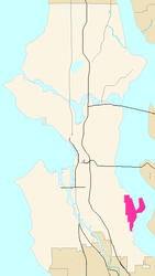 Map of Seward Park's location in Seattle