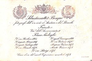 Franz Benque - Image: Sebastianutti, Guglielmo (1825 1881) & Benque, Franz (1841 1921) Trade mark