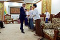 Secretary Kerry Shakes Hands with Government Officials before a Bilateral Meeting with Myanmar Foreign Minister San Suu Kyi in Naypyitaw (26890637820).jpg