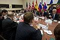 Secretary of Defense Chuck Hagel meets with British Minister of Defense Philip Hammond, Canadian Minister of Defense Peter MacKay, and French Minister of Defense Jean Yves Le-Drian.jpg