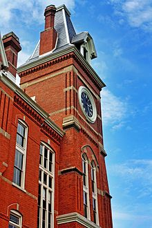 An image of the red-bricked Seney Hall and its clocktower