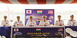 Senior Naval officers from India, US and Japan at a Joint Press conference organized in connection with Malabar 2015 on board INS Shivalik.jpg