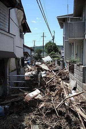 Tropical Storm Etau (2009) - Debris filled street in Sayo after flood waters receded