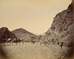 Shadi Bagiar at the entrance to the Khyber Pass in 1878.jpg