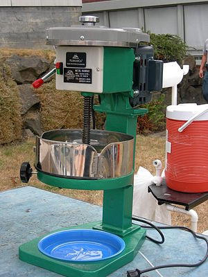 Shaved ice - A machine used for shaving ice for shaved ice desserts.