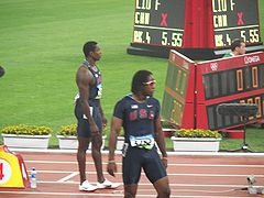 Shawn Crawford, Walter Dix 2008 Olympics 200 m final.jpg