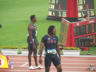Shawn Crawford - Shawn Crawford (left) and Walter Dix (right) at the 2008 Olympics 200 m final