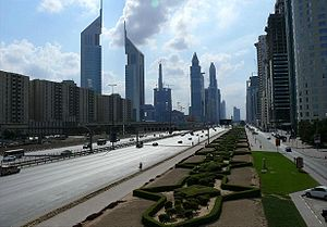 E 11 road (United Arab Emirates) - Image: Sheikh Zayed Road on 28 December 2007