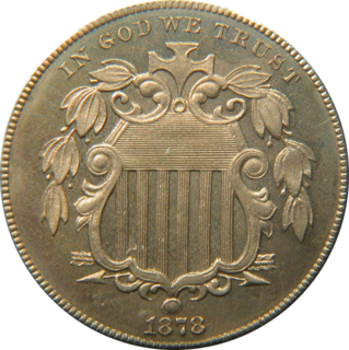 Shield nickel the first United States five cent piece to be made out of copper-nickel