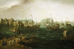 United Kingdom company law - Hendrick Cornelisz Vroom's depiction in 1614 of competing British East India Company and Dutch East India Company ships, both with monopolies to trade. Other chartered corporations, still in existence include the Hudson's Bay Company (est 1670) and the Bank of England (est 1694).