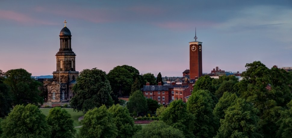 Shrewsbury skyline evening