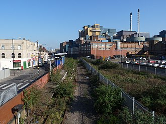 Silvertown railway station - Image: Silvertown and London City Airport railway station from footbridge
