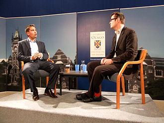 Simon Bridges - Bridges speaking to Bryce Edwards at a 2011 election event