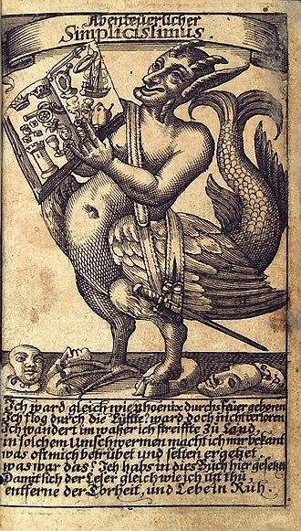 Hans Jakob Christoffel von Grimmelshausen - Abenteuerlicher Simplicissimus, frontispiece of an early edition