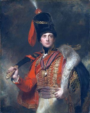 Pelisse -  Charles Stewart, in hussar uniform with a military pelisse slung over the shoulder. 1812, by Thomas Lawrence.