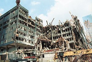 Six World Trade Center - Southwest corner of Six World Trade Center after the September 11 attacks