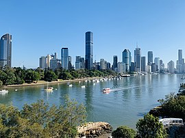 Skylines of Brisbane in winter misty morning seen from Kangaroo Point, Queensland 04.jpg