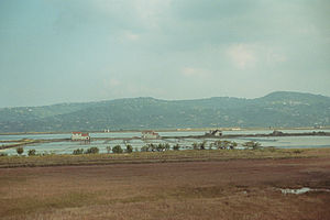 Croatia–Slovenia border disputes - Old part of the Sečovlje salt pans; picture taken from the Bay of Piran's Croatian coast