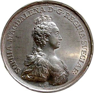 Sophia Magdalena of Denmark - Sophia Magdalene in her crown on a special coin