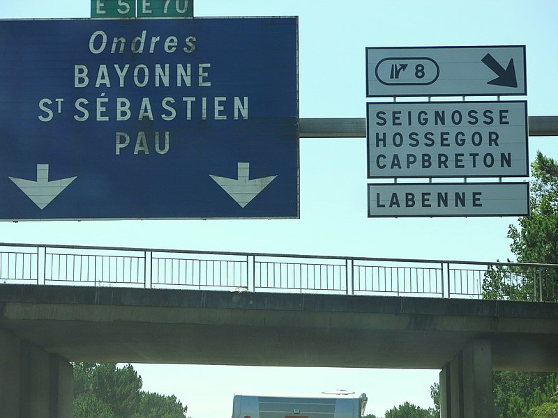 Exit for Capbreton on the A63 highway (Landes, France).