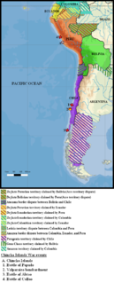 Chincha Islands War war in South America between 1864 and 1866 with Spain fighting against Chile, Peru, Ecuador and Bolivia