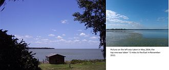 Lake Apopka - Views of Lake Apopka from its southern shore; 2004 and 2011 respectively.