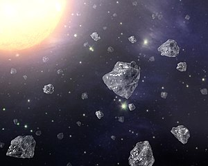 Extraterrestrial diamonds - Artist's conception of a multitude of tiny diamonds next to a hot star.