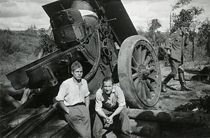 Anti-aircraft warfare - Spanish volunteers resting next to an anti-aircraft gun at the Eastern Front, during World War II.