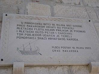 Croatian–Venetian wars - Commemorative plaque of a Croatian–Venetian battle at Makarska