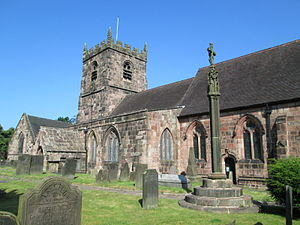 Cheddleton - Church of St Edward the Confessor, and the churchyard cross