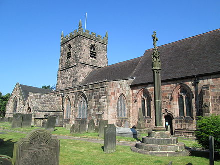 Church of St Edward the Confessor, and the churchyard cross St Edward's Church 2, Cheddleton.JPG